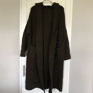 Zara Knit Long Sleeved Hooded Duster | Size: M